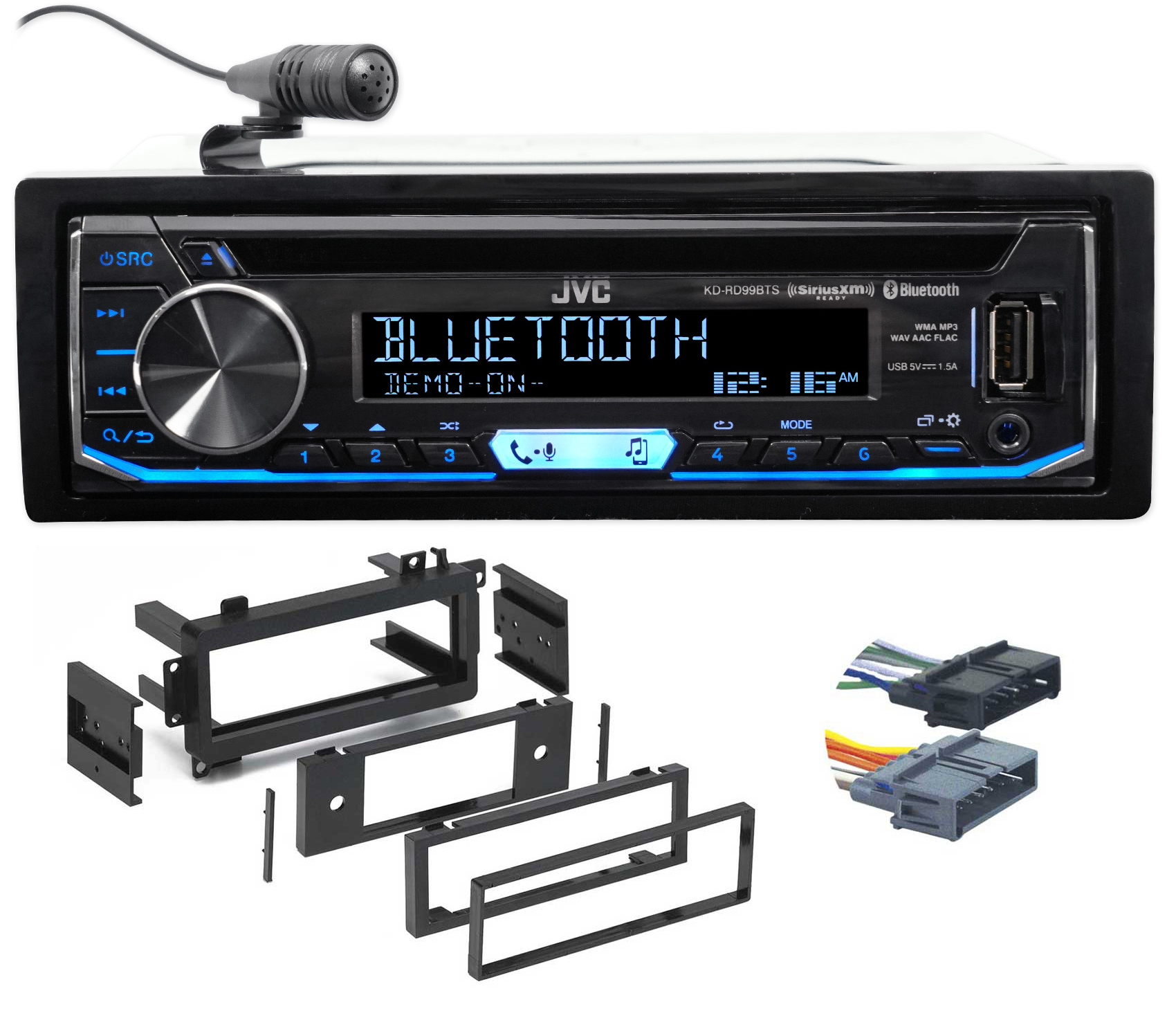 1-Din JVC CD Receiver w Bluetooth USB iPhone Android XM For 97-01 Jeep Cherokee by JVC