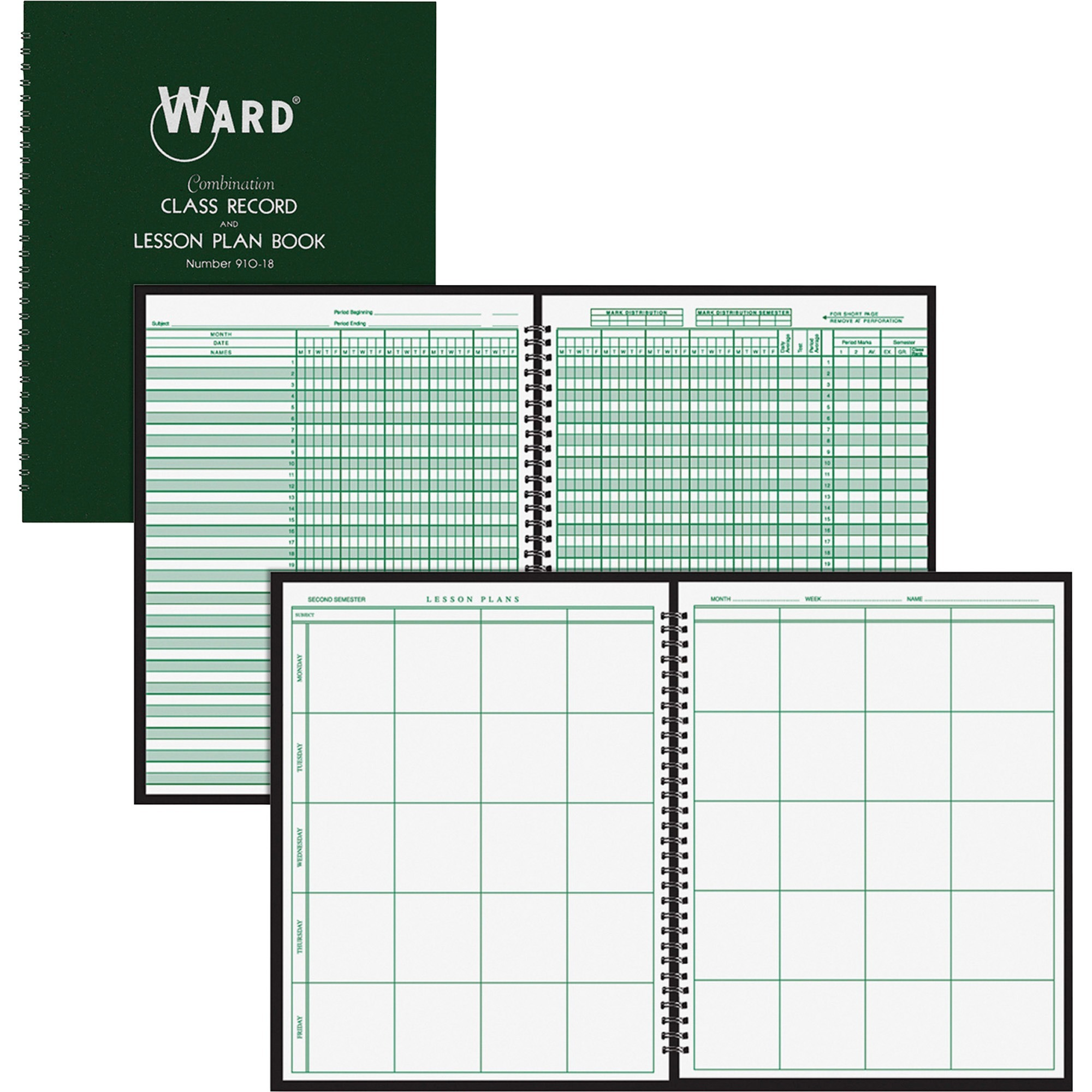 Ward, HUB91018, Combo Teacher's Record/Planning Book, 1 Each