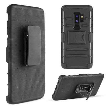 [Samsung Galaxy S9 PLUS] Holster Case, REDshield [Black] Supreme Protection Hard Plastic on Silicone Skin Dual Layer Hybrid (Hard Plastic Skin Case)