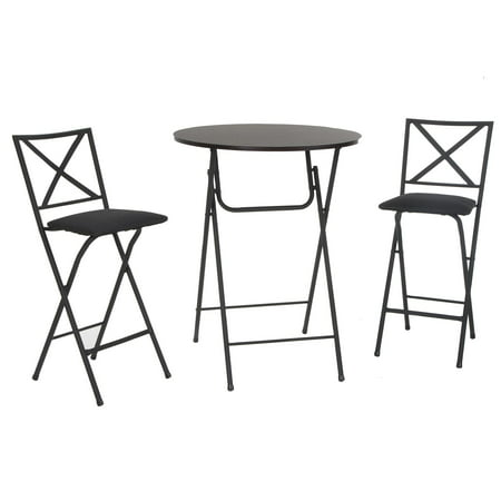 COSCO 3 Piece Counter Height Bistro Set, Wood Grain Table, 2 Fabric Padded Stools ()