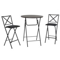 COSCO 3 Piece Counter Height Bistro Set, Wood Grain Table, 2 Fabric Padded Stools