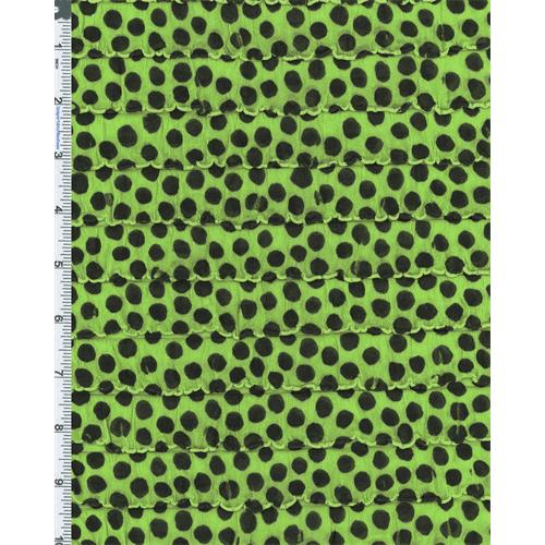 Green/Black Ruffle Polka Dot Print Knit, Fabric By the Yard
