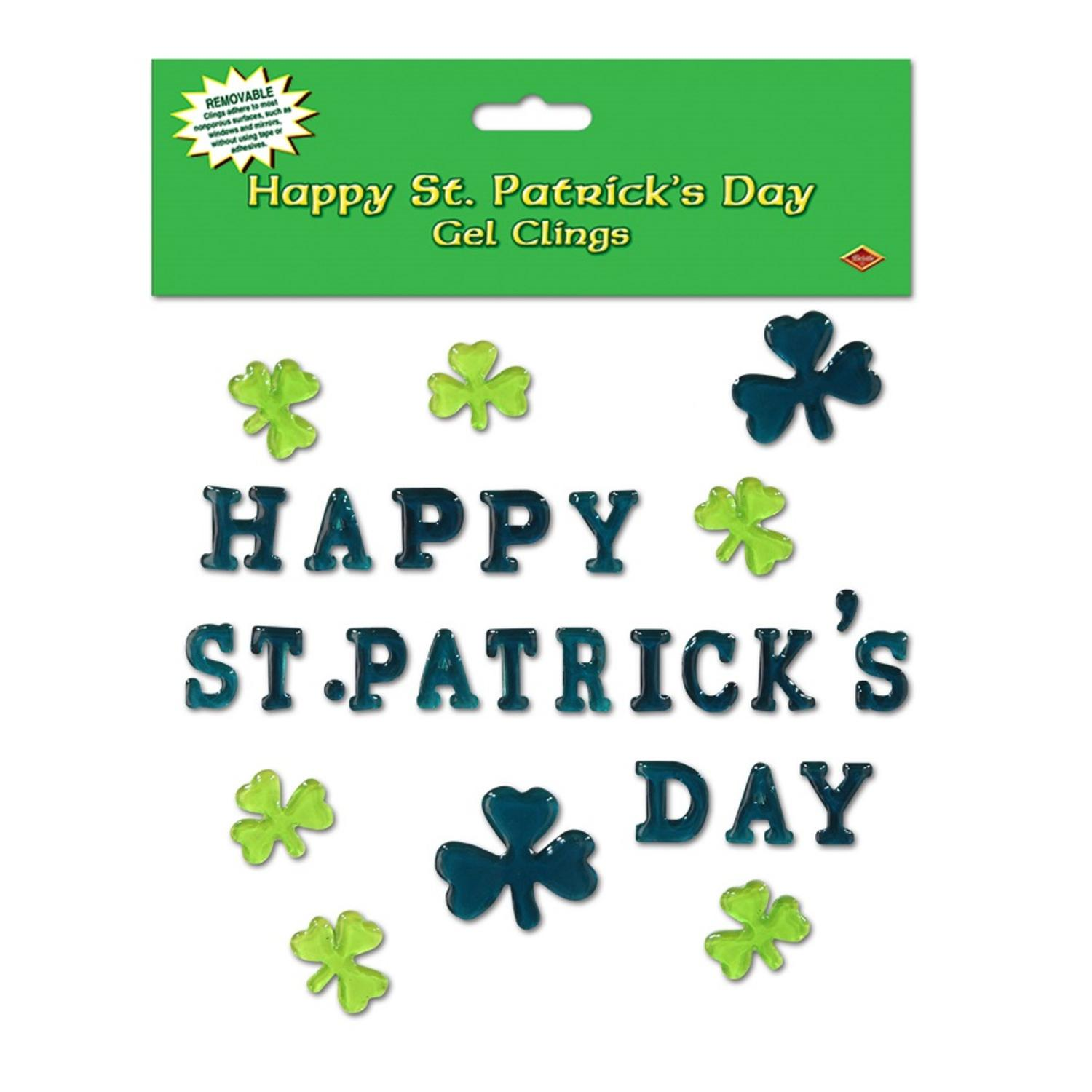 club pack of 336 happy st. patrick's day gel window cling