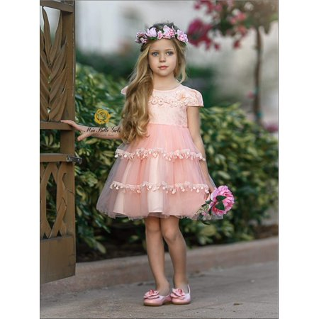 Girls Princess Cap Sleeve Floral Applique Holiday Dress, Pink, Size: 2T - Princess Dress 2t