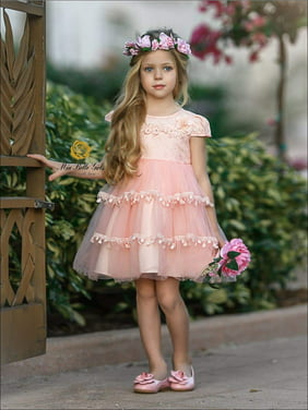 9e207653eb Product Image Girls Princess Cap Sleeve Floral Applique Holiday Dress