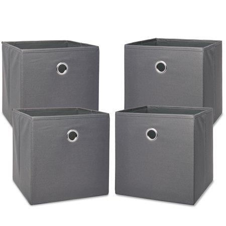 "Mainstays Collapsible Fabric Cube Storage Bins (10.5"" x 10.5""), 4 Pack, Gray Flannel"
