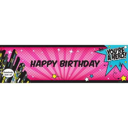 Superhero Girl Birthday Banner, Standard