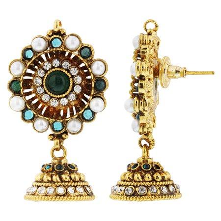 Gem Avenue Gold Plated Simulated Emerald CZ Traditional Jumka Handmade Designer Bollywood Indian Drop Earrings