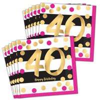 Pink & Gold 40th Birthday Lunch Napkins (48)