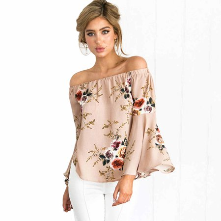 85bd979ab7752 Dosmart - Women s Sexy Floral Off the Shoulder Bell Sleeve Chiffon ...