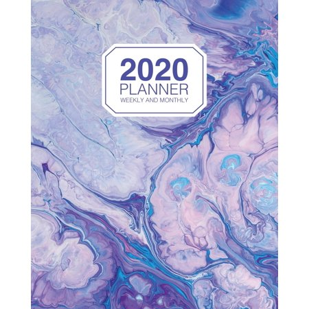 2020 Planner Weekly And Monthly: 2020 Agenda Organizer Calendar - Purple Abstract Marbling - Weekly Organizer With To Do Section (Weekly Planning Calendar)