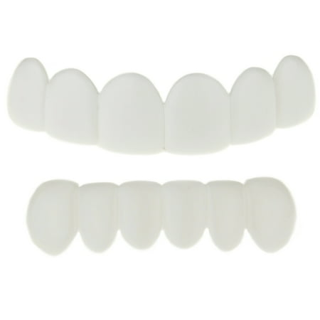 White Teeth Grillz Set Top & Bottom Row Removable Plastic Grill Pre-Made Bright Smile Hip Hop Mouth