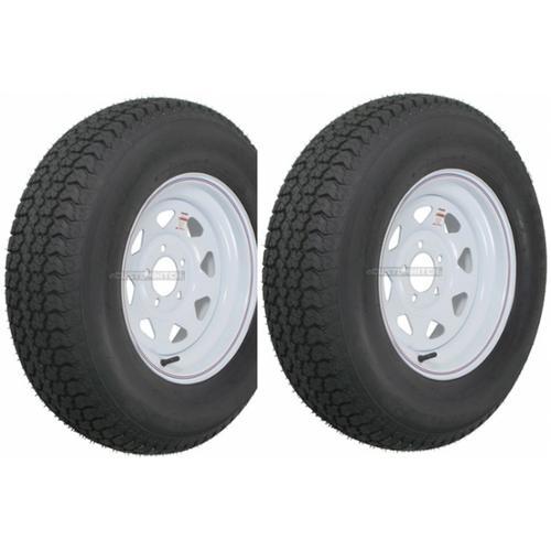 """2-Pack Trailer Wheel & Tire #425 ST175 80D13 175 80 D 13"""" LRC 5 Hole White Spoke by Kenda Loadstar Dexstar"""