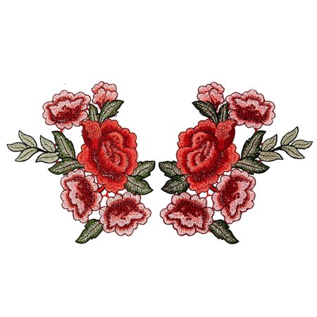 - 2 Rose Flower Floral Collar Sew Patch Cute Applique Badge Embroidered Bust Dress Clothings Jeans