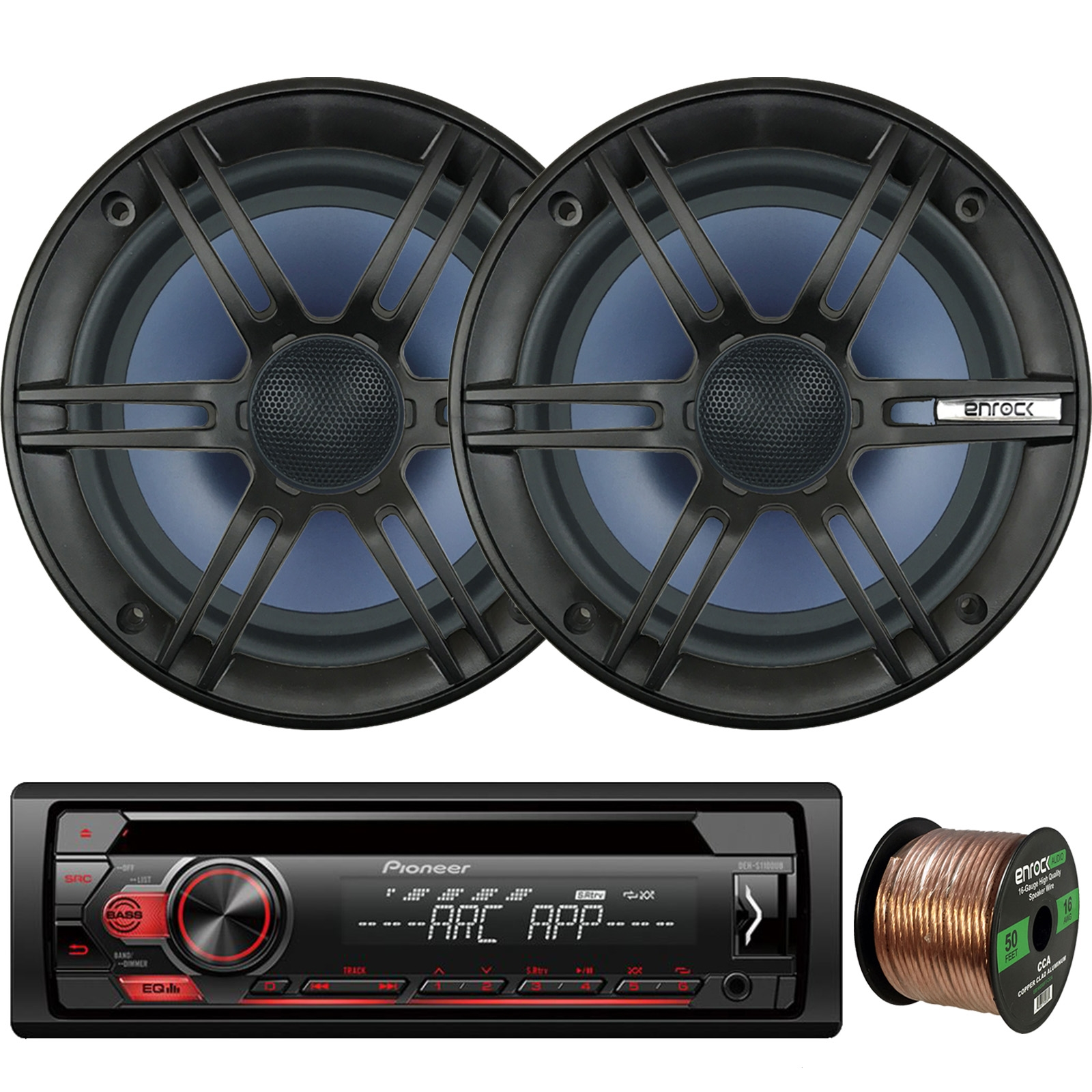 """Pioneer DEH-S1100UB Single-DIN CD Player AM/FM Car Stereo Receiver, 2 x Enrock Audio 6.5"""" 2-Way Marine-Grade Coaxial Car/Boat Audio Stereo Speakers, 16-Gauge 50Ft. Speaker Wire"""