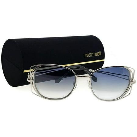 Roberto Cavalli RC1031-16X-55 Women's Oval Silver Frame Blue Lens Sunglasses NWT ()