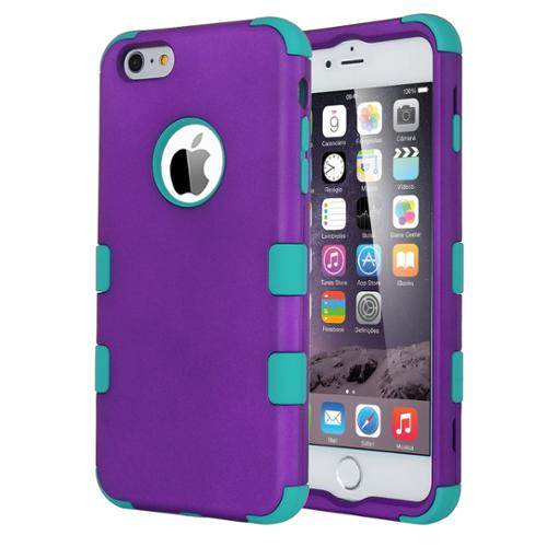 ULAK [Hard Plastic] [Silicone] Combo Protective Case Rubber Bumper Heavy Duty Dual-Layer Cover for iPhone 6 Plus(5.5) 2014 (Purple+Blue)