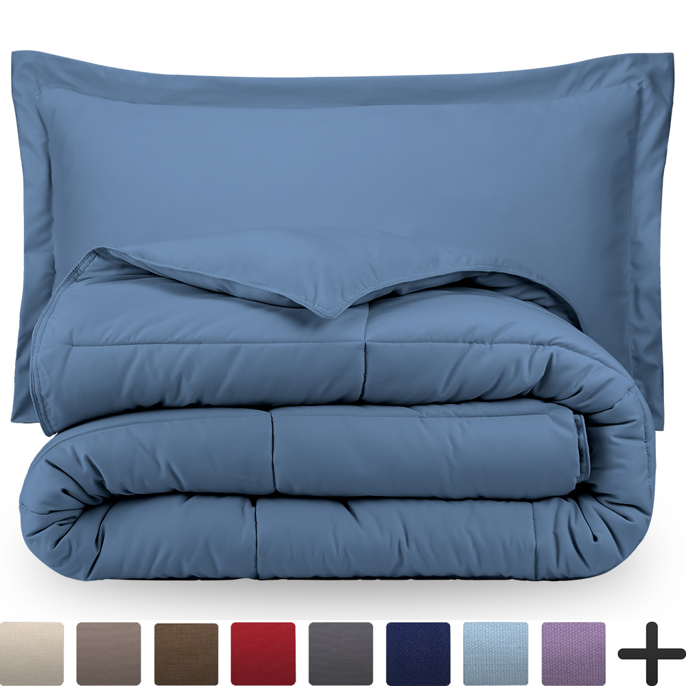Ultra-Soft Premium 1800 Series Goose Down Alternative Comforter Set - Hypoallergenic - All Season - Plush Siliconized Fiberfill (Full/Queen - Grey)
