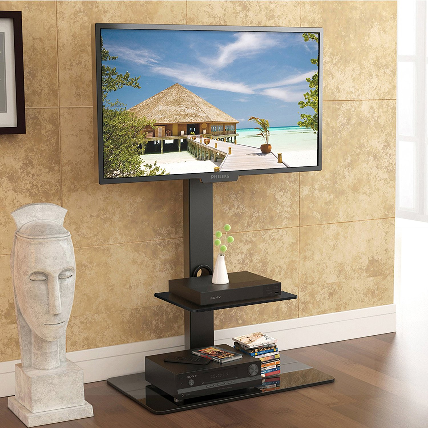 Fitueyes Floor Tv Stand With Swivel Mount For 32 To 65 Inch Tv