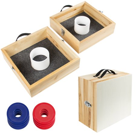 Best Choice Products 10-Piece Wood Washer Ring Toss Game Set for Indoor, Outdoor w/ 2 Targets, 8 Steel Washers, Convertible Carrying Case - Mutli](Ring Toss Game Diy)