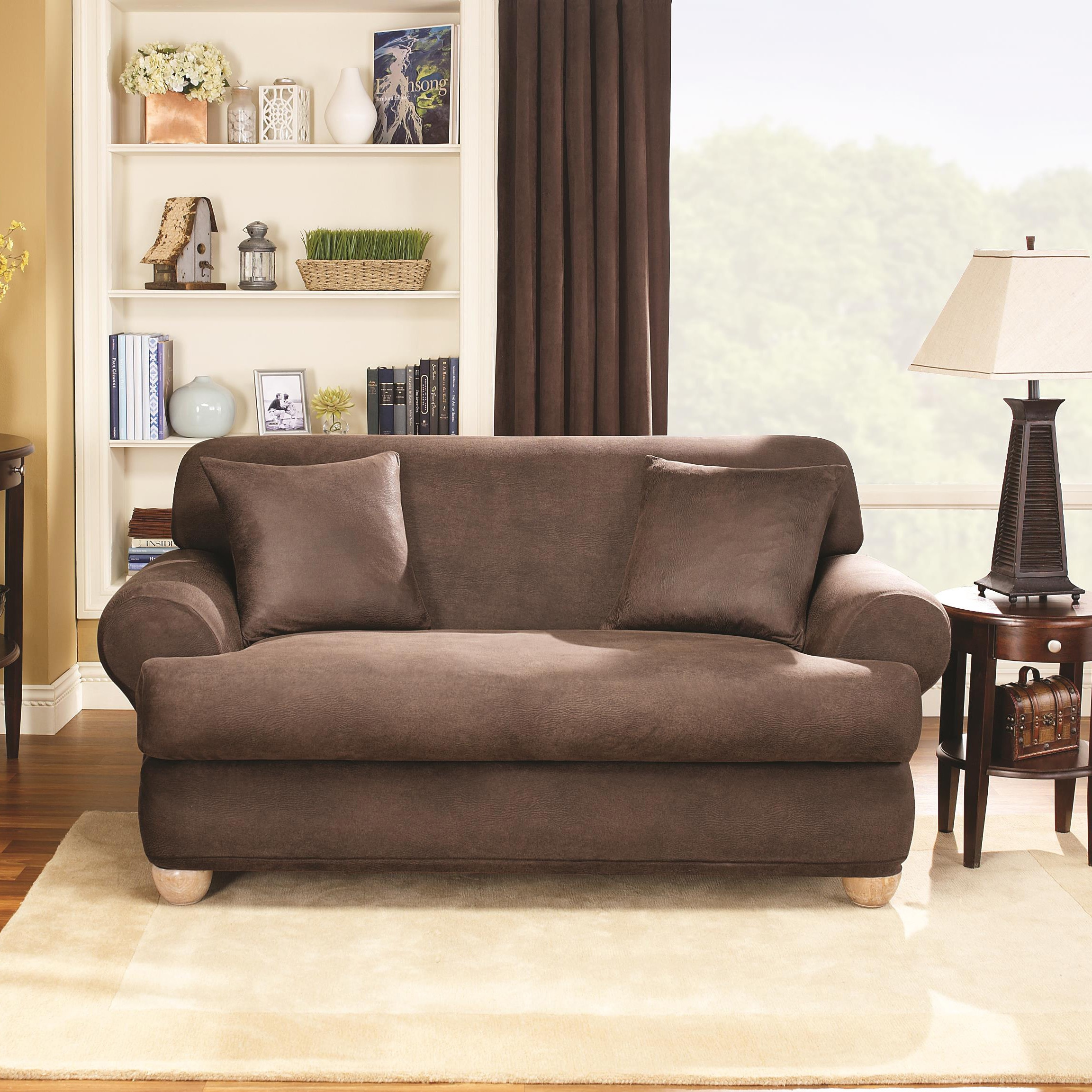 Sure Fit Stretch Leather 2 Piece T Cushion Loveseat Slipcover