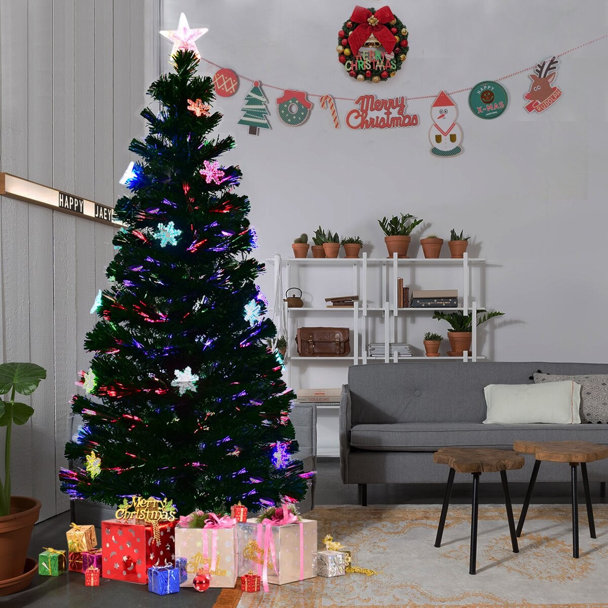 Gymax Fiber Optic 6' PVC Artificial Christmas Tree LED Lights Metal Stand