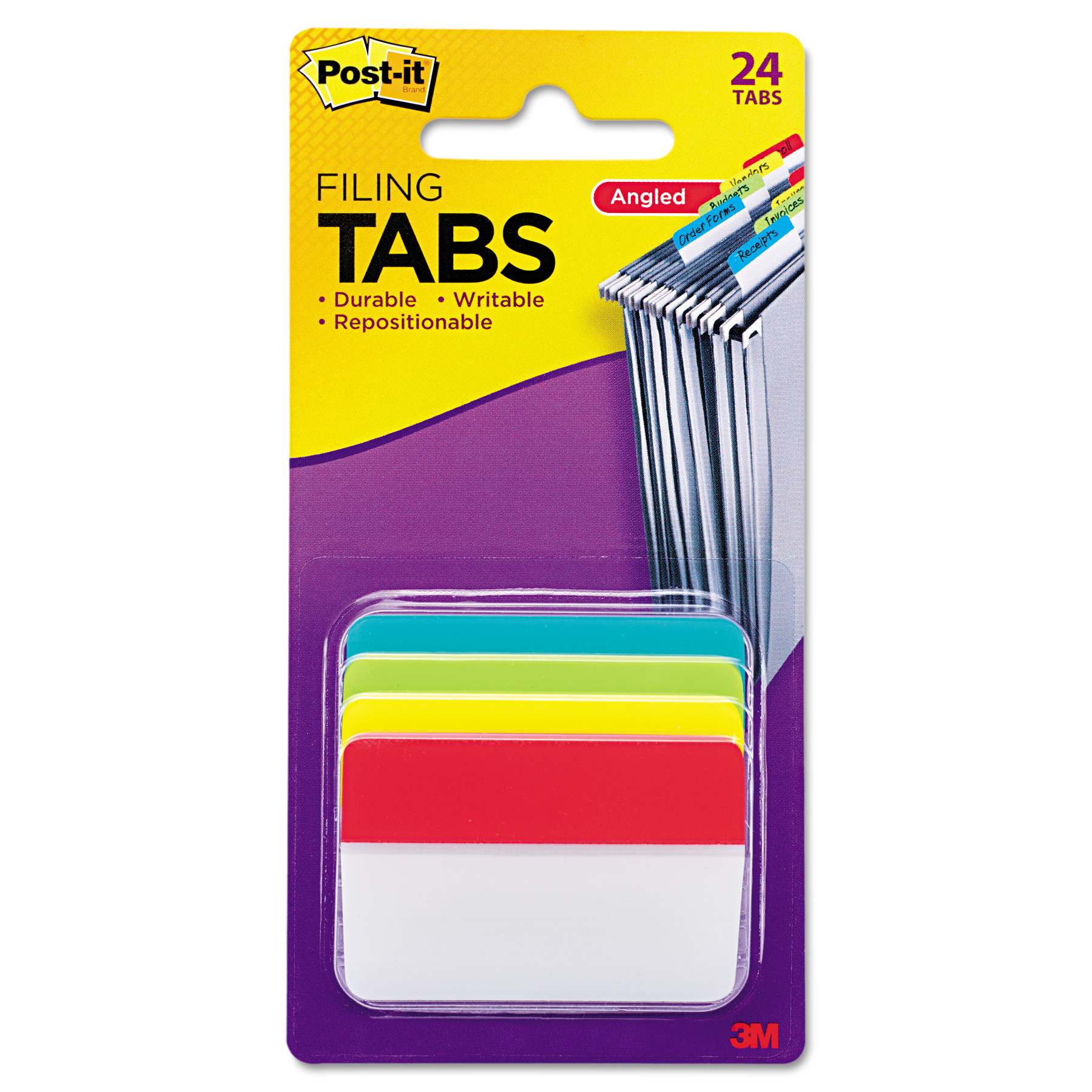 "Post-it Filing Tabs, 2"" Angled Solid, Assorted Primary Colors, 6 Tabs/Dispenser, 4 Dispensers/Pack"