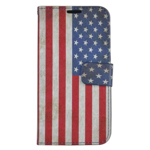 insten United States National Flag Leather Wallet Case with Card slot For Samsung Galaxy S7 - Colorful