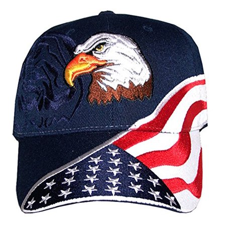 American Flag Hat - USA Eagle Baseball Cap with 100,000 Embroidery Stitches (Navy), Great Dad Gift - Uta Caps