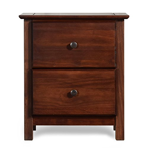 ModHaus Living Shaker Modern Wood Accent Nightstand with 2 Spacious Drawers in Cherry Finish - Includes Pen