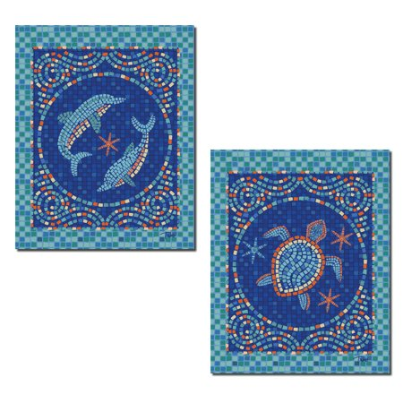 Beautiful Blue Teal and Orange Mosaic Dolphin and Turtle Poster Prints; Coastal Decor; Two 8x10in Poster Prints - Mosaic Turtle