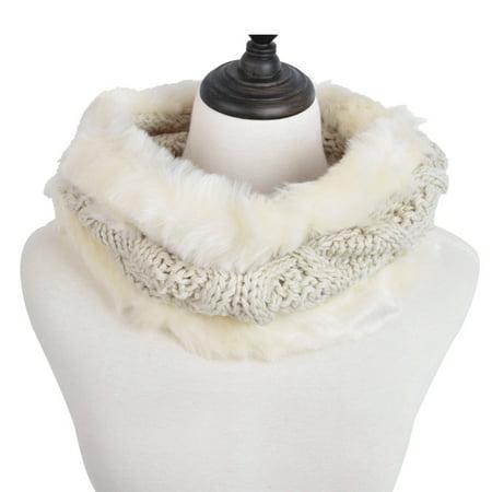 Fun Scarf (Premium Solid Color Winter Diamond Knit Faux Fur Trim Infinity Loop Circle)