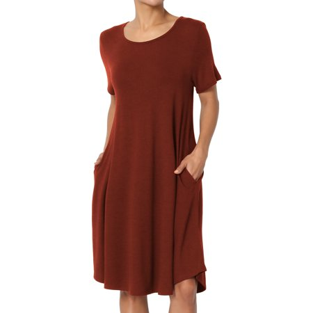 TheMogan Women's S~3X Short Sleeve Trapeze Jersey Knit Pocket T-Shirt Dress for $<!---->