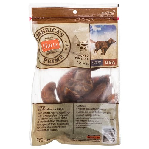 Hartz Americas Prime Chews for Dogs - Smoked Pig Ears 7.6 oz - 12 Pack