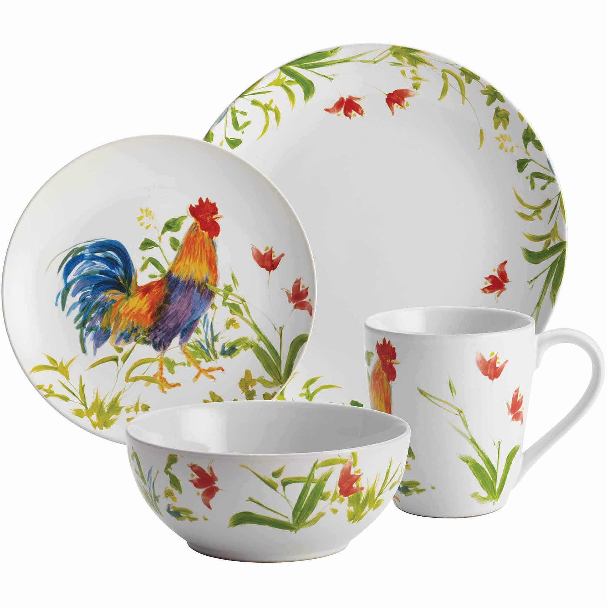 BonJour Dinnerware Meadow Rooster Stoneware 16-Piece Set, Print ...