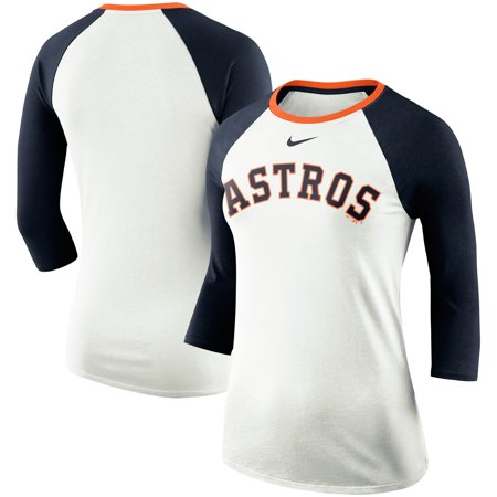 great fit bd94e a9aa9 Houston Astros Nike Women's Tri-Blend Raglan 3/4-Sleeve T-Shirt - White/Navy