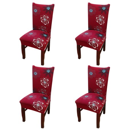 Chair Protector Cover Slipcover Pack of 4, Eleoption Stretch Removable Washable Spandex Chair Cover for Dining Room Wedding Banquet Decoration