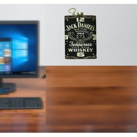 Metal Clock Shaped like a Flask with Jack Daniel