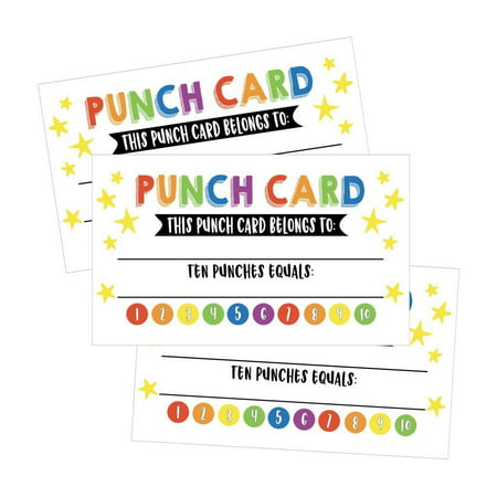 25 Rewards Punch Cards For Kids, Students, Teachers, Classroom, Business, Chores, Reading Incentive Awards For Teaching Reinforcement or Home Education Class Supplies Loyalty Encouragement Work - Classroom Awards