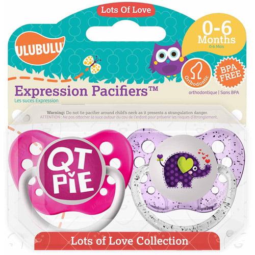 Ulubulu QT Pie Elephant Pacifiers, 0-6 Months, 2-Pack by Ulubulu