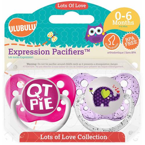 Ulubulu QT Pie/Elephant Pacifiers, 0-6 Months, 2-Pack