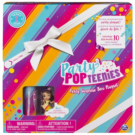 Party Popteenies - Rainbow Unicorn Party Surprise Box Playset with Confetti, Exclusive Collectible Mini Doll and Accessories, for Ages 4 and
