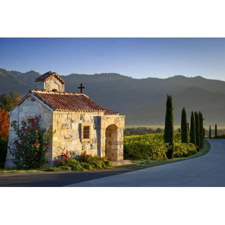 Chapel at Castello di Amorosa vineyards, Napa Valley, California, USA Print Wall Art By Brian - Napa Halloween City