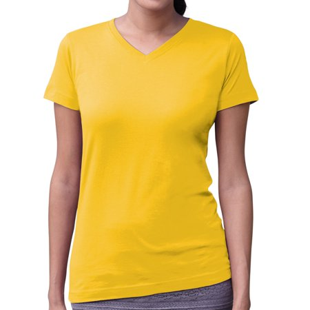 Pink Ladies Halloween Ideas (LAT 3507 Ladies V-Neck Longer Length T-Shirt - Yellow -)