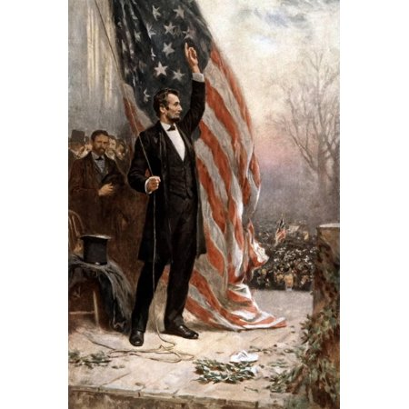 Civil War Artwork - American Civil War Painting of President Abraham Lincoln Holding the American Flag United States History Print Wall Art