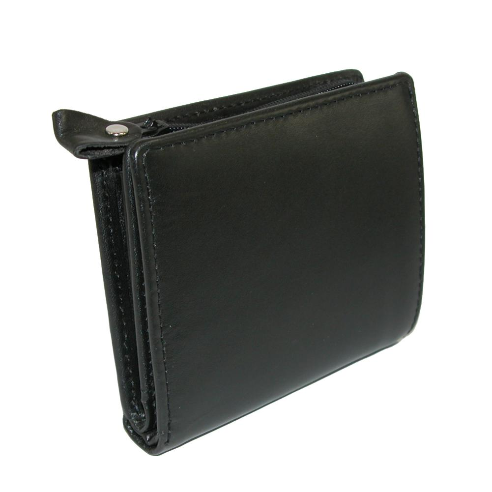 Winn International  Men's Leather with Zippered Coin Pocket WalletBlack