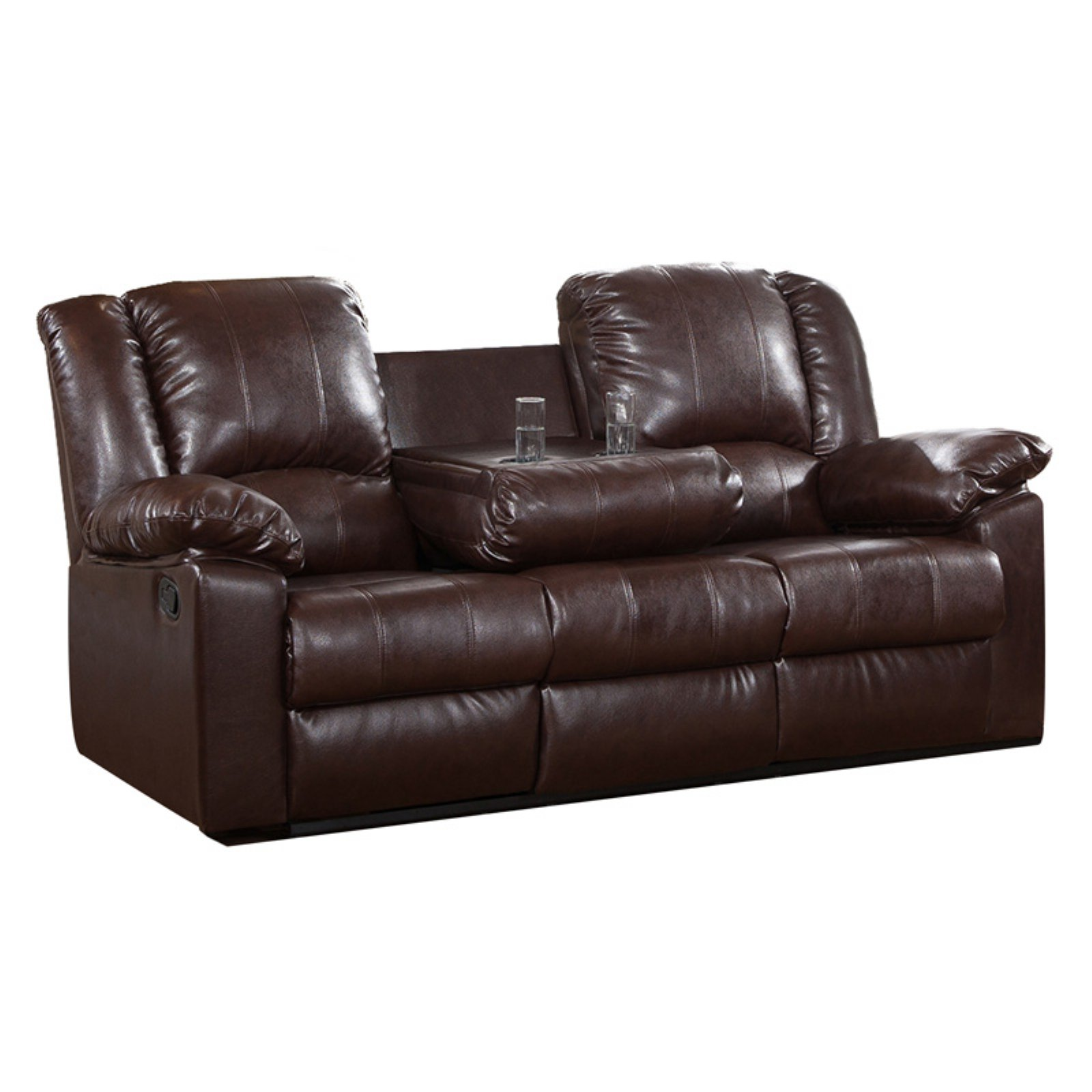 Burgas Reclining Sofa With Drop Down Cup Holder Walmartcom