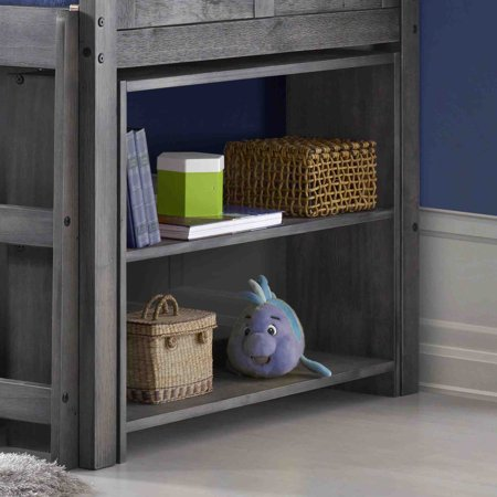 OS Home and Office Louvered Design Twin Loft Bed with Built in Three Drawer Chest, Bookcase, and Two Drawer Chest with Two Shelves in Antique Grey