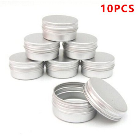 10 PCS Balm Nail Art Cosmetic Cream Make Up Pot Lip Jar Tin Case -