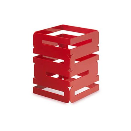 rosseto sm185 8 in. skycap red gloss steel square multi level riser